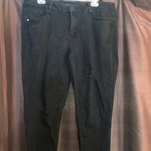 Lane Bryant Black Destructed Ankle Jeans 16P